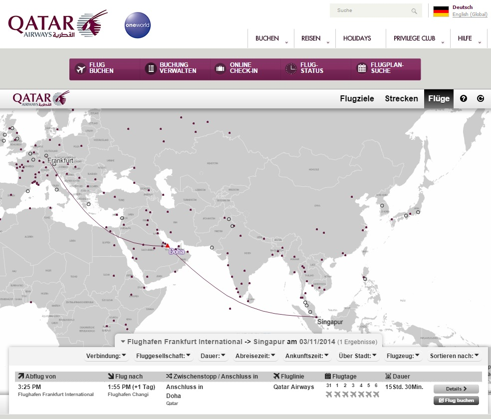Flugroute Frankfurt nach Katar/ Doha (Quelle: singapur-portal.de)