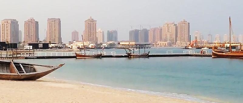 Badestrand Katara Beach mit Dohw in Doha