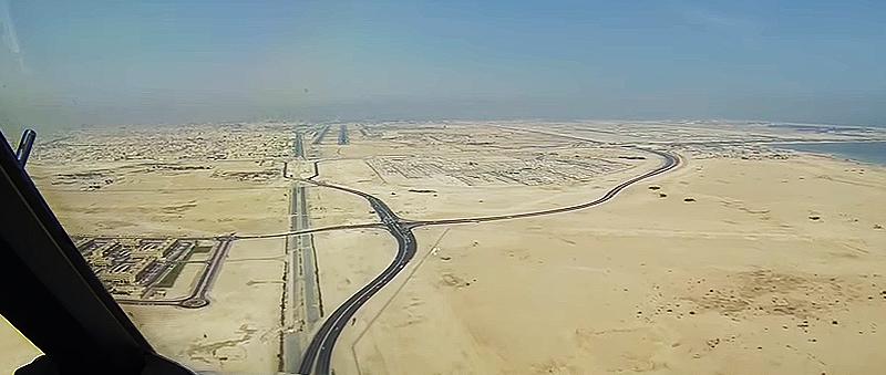 Landeanflug in Doha nach 6 Stunden Flugzeit
