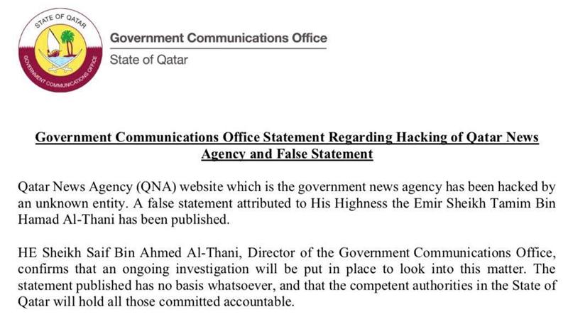 Offizielles Statement der Regierung Katars zur Falschmeldung