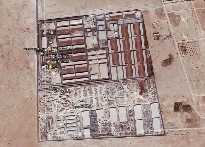 Baladna-Farm in der Wüste auf Google-Maps